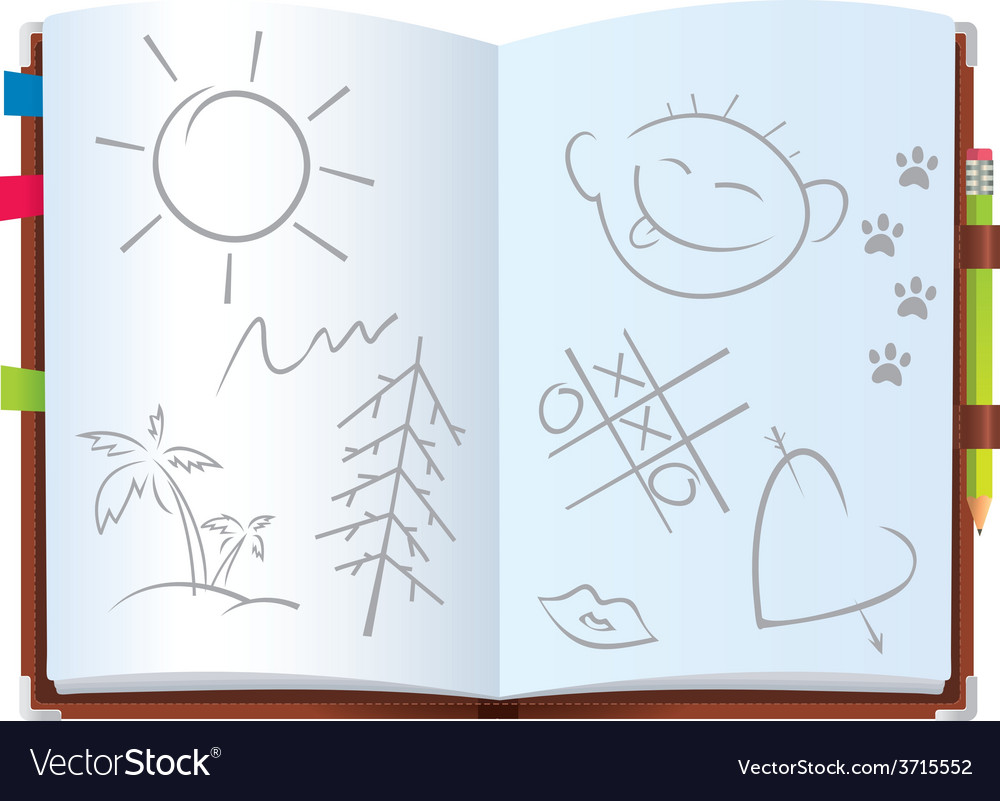Notepad with pictures vector | Price: 1 Credit (USD $1)