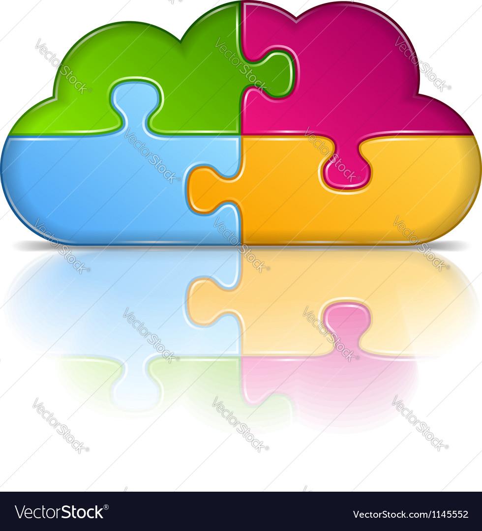 Puzzle cloud vector | Price: 1 Credit (USD $1)