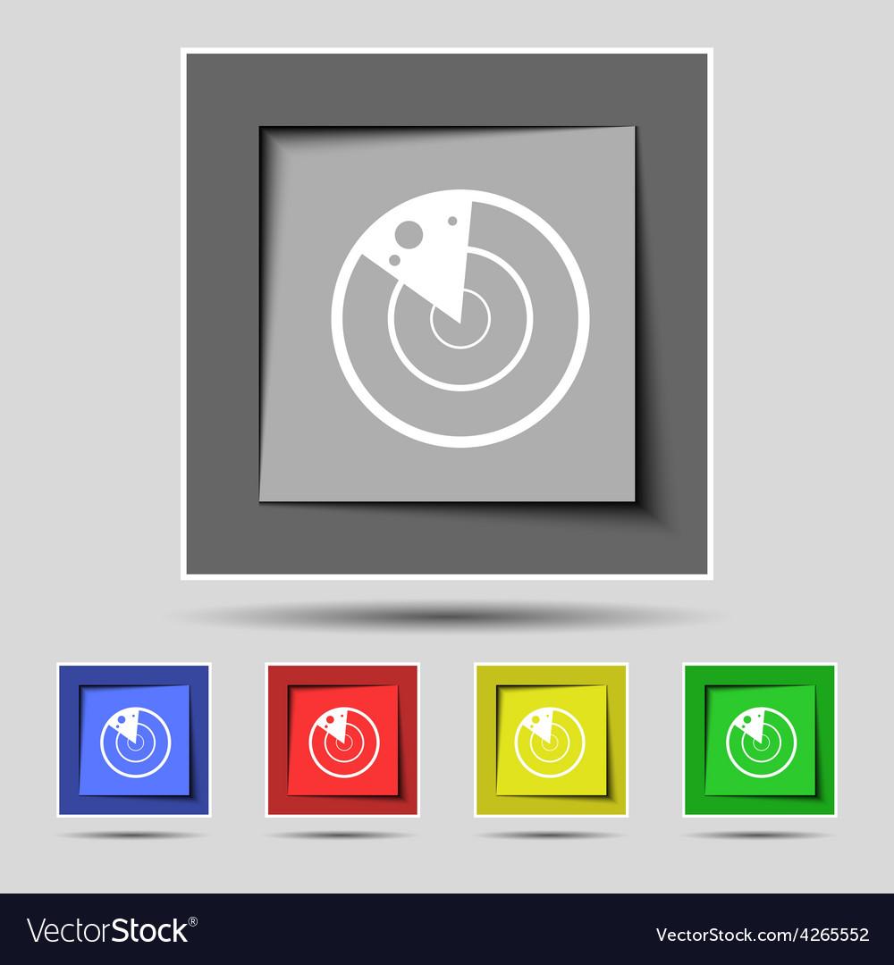 Radar icon sign on the original five colored vector | Price: 1 Credit (USD $1)