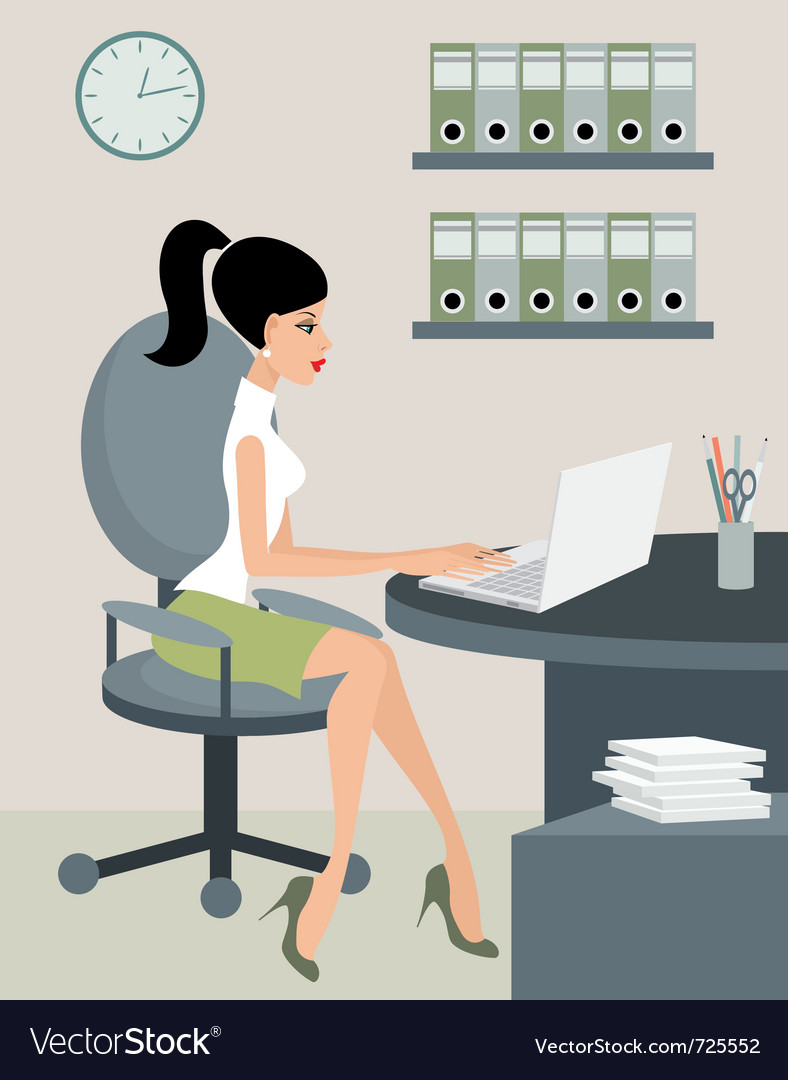Secretary at office vector | Price: 1 Credit (USD $1)