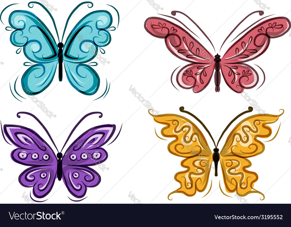 Set of ornamental butterflies for your design vector | Price: 1 Credit (USD $1)