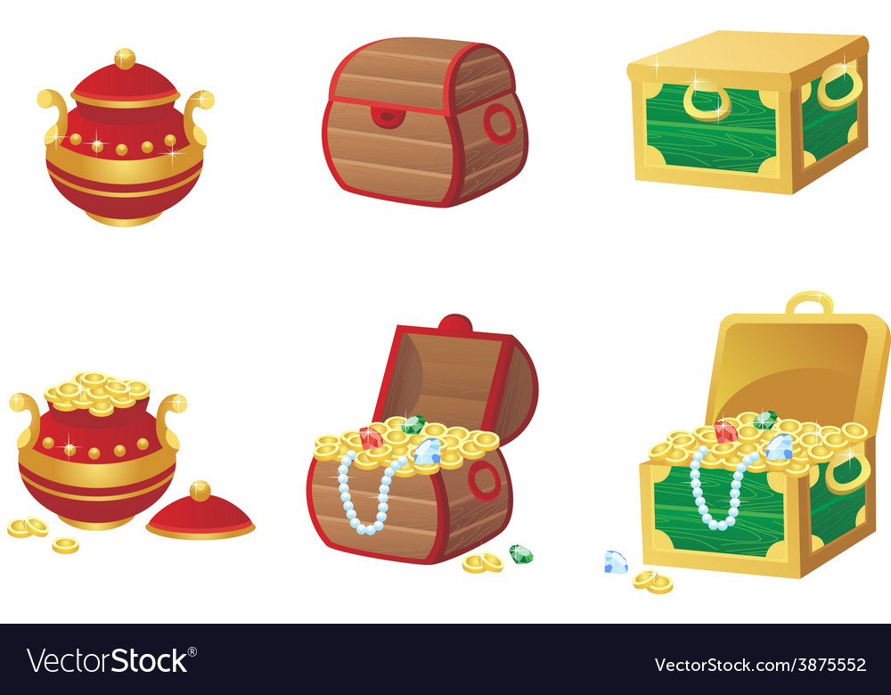 Treasure chest full of gold vector | Price: 1 Credit (USD $1)
