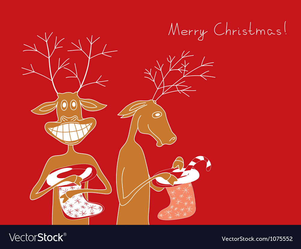 Two cheerful deer vector | Price: 1 Credit (USD $1)