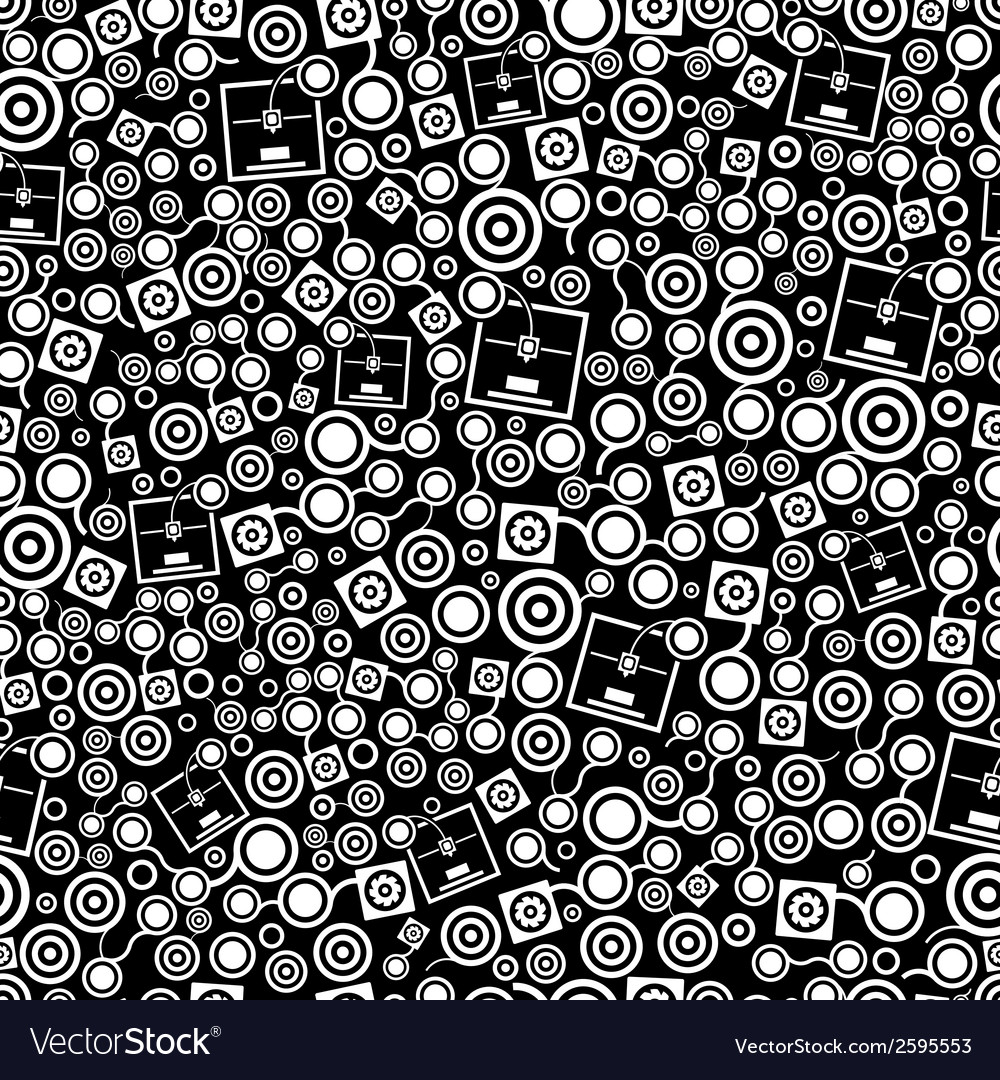 3d printer dark seamless pattern vector | Price: 1 Credit (USD $1)