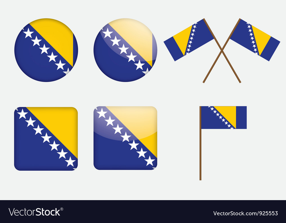 Badges with flag of bosnia and herzegovina vector | Price: 1 Credit (USD $1)