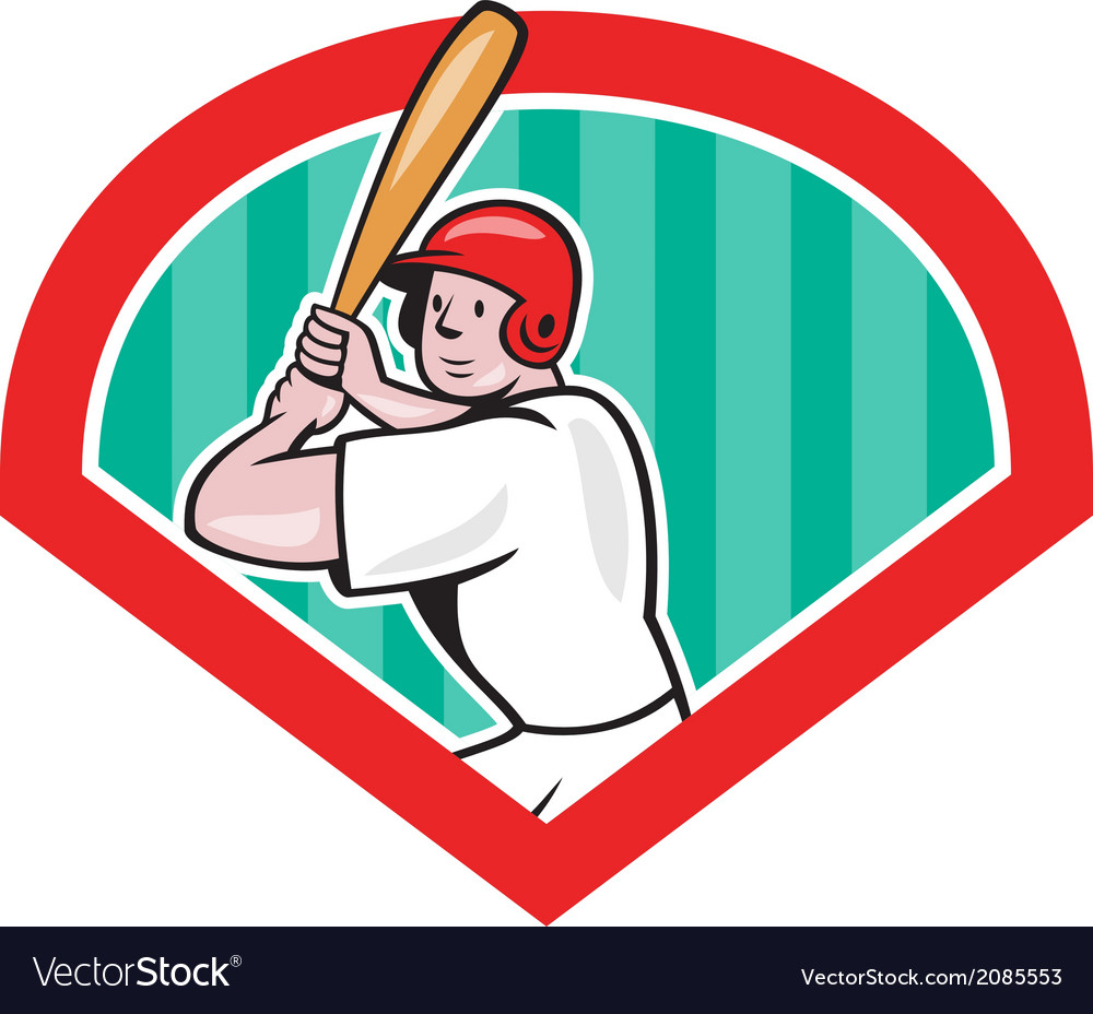 Baseball player batting diamond cartoon vector | Price: 1 Credit (USD $1)