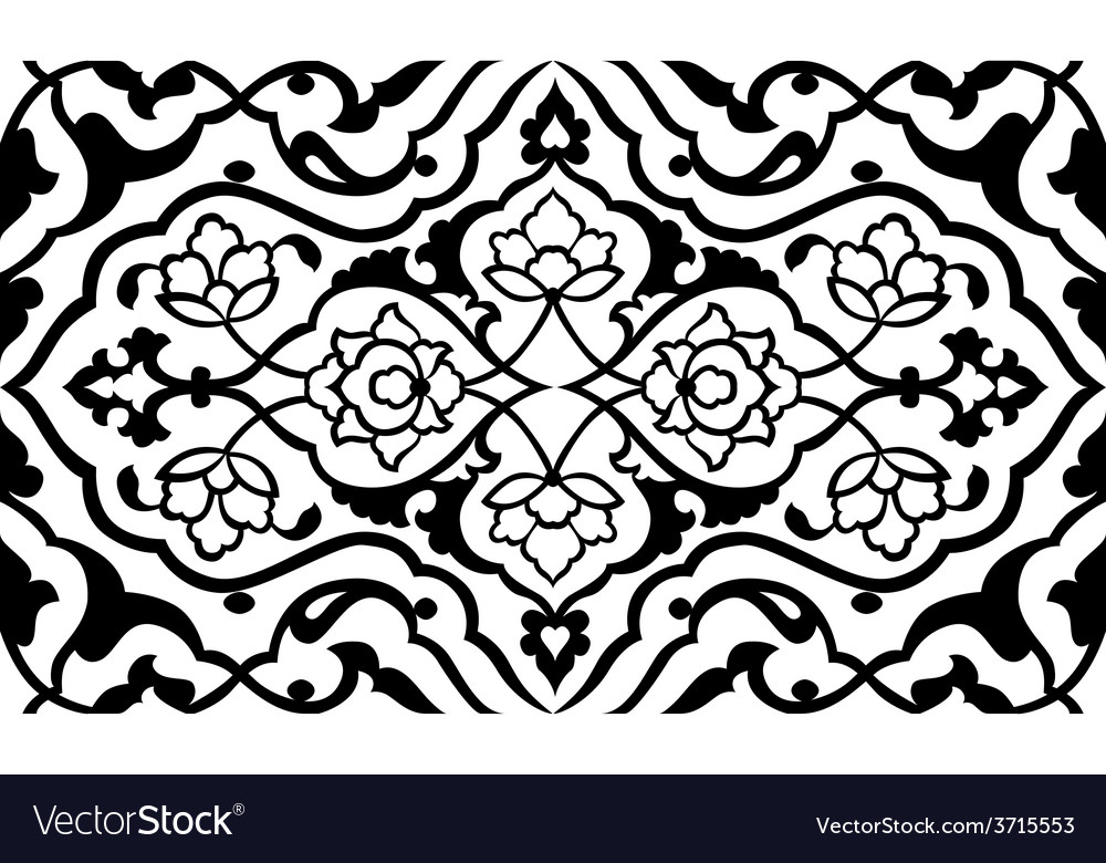 Black artistic ottoman pattern series fifty six vector | Price: 1 Credit (USD $1)