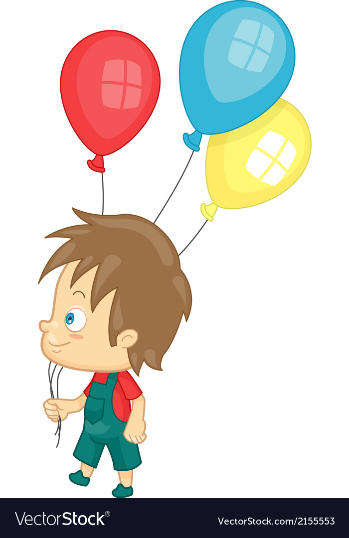 Boy with party balloons vector