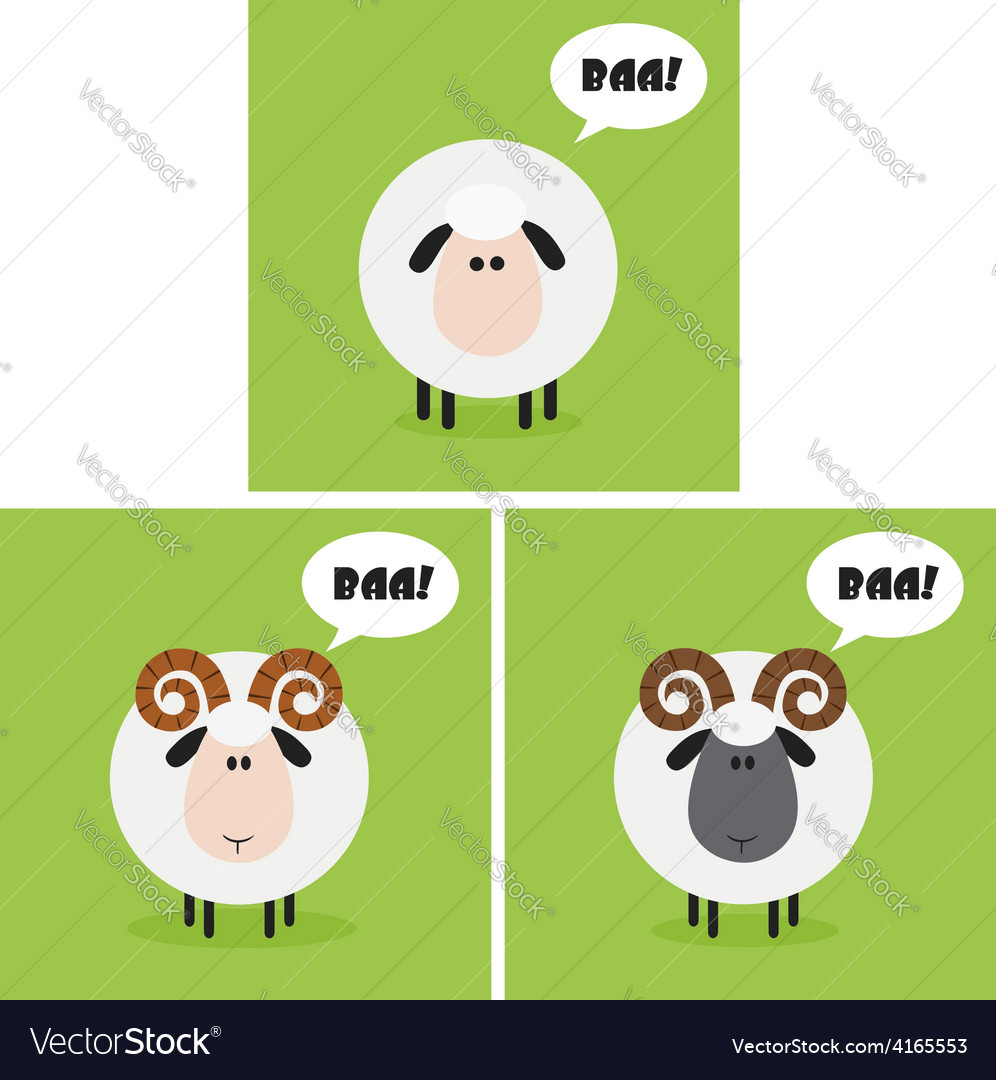 Cartoon sheep icon set vector | Price: 1 Credit (USD $1)