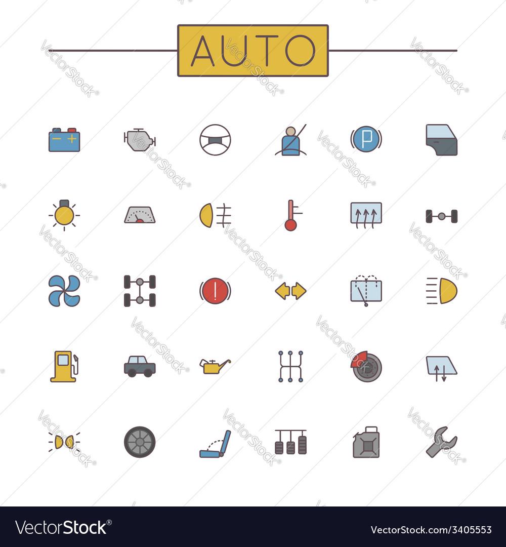 Colored auto line icons vector | Price: 1 Credit (USD $1)