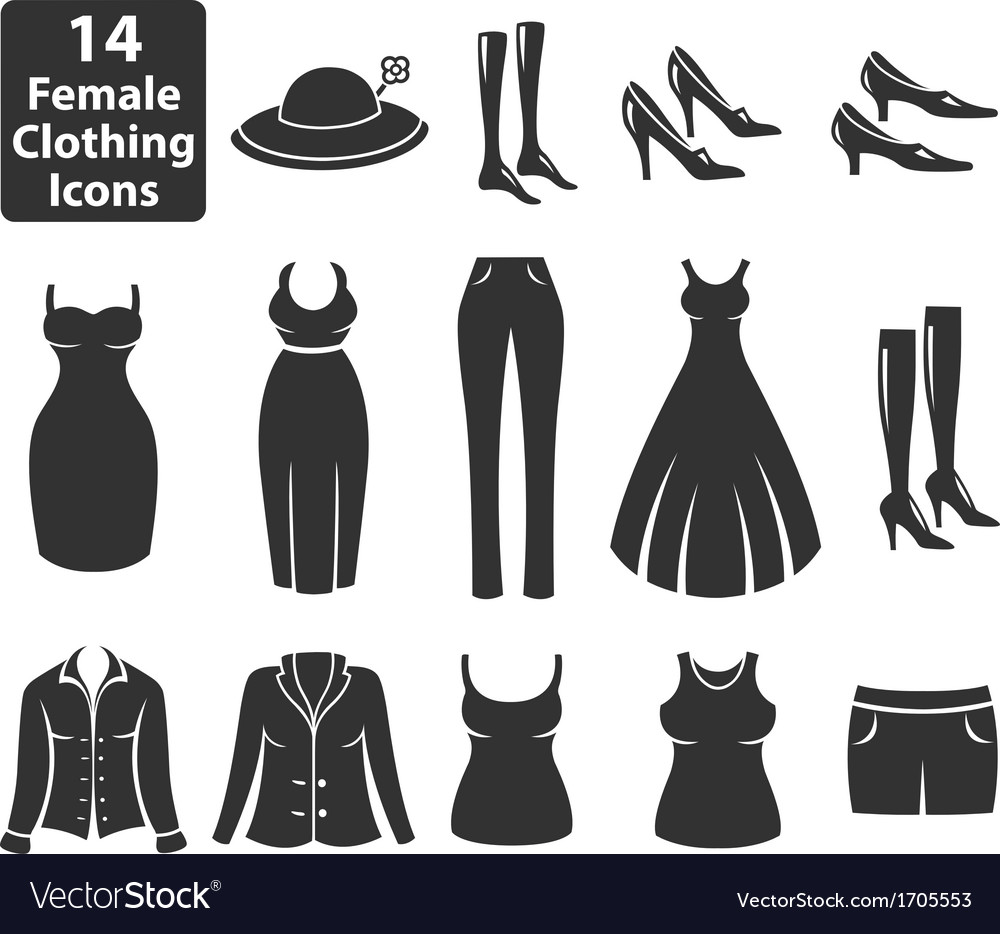 Female clothing icons vector | Price: 1 Credit (USD $1)