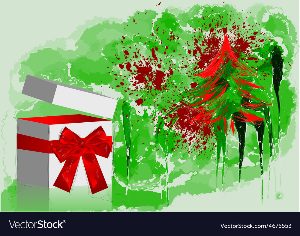 Gift with red bow and tree vector   Price: 1 Credit (USD $1)
