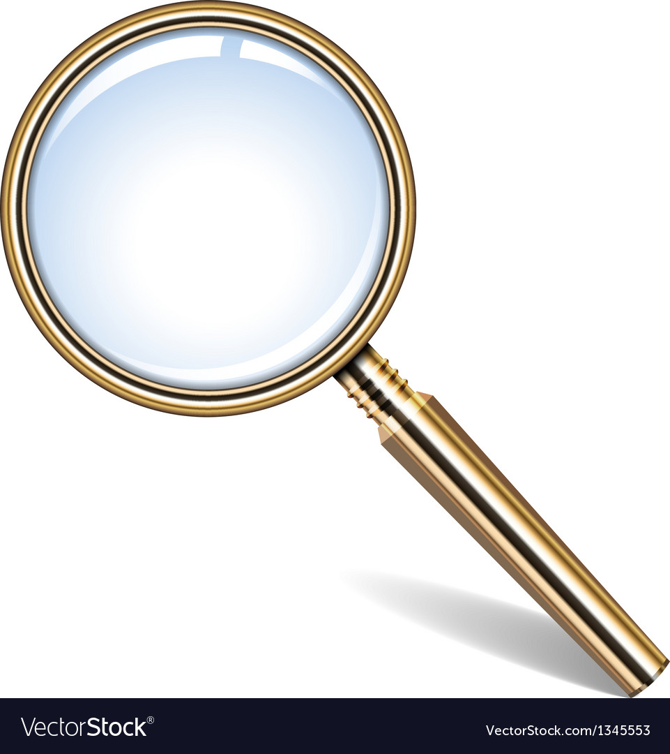 Golden magnifying glass vector | Price: 1 Credit (USD $1)