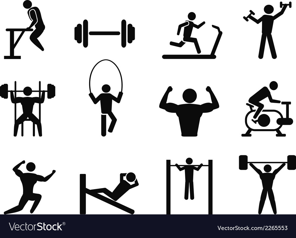 Gymnasium and body building icons vector | Price: 1 Credit (USD $1)
