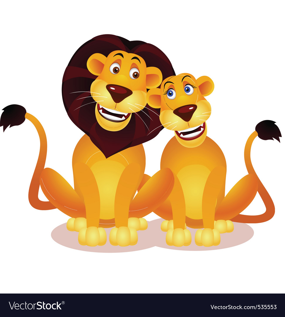 Lion couple vector | Price: 1 Credit (USD $1)