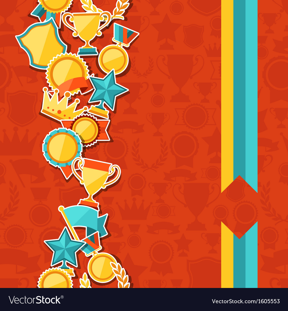 Seamless pattern with trophy and awards stickers vector | Price: 1 Credit (USD $1)