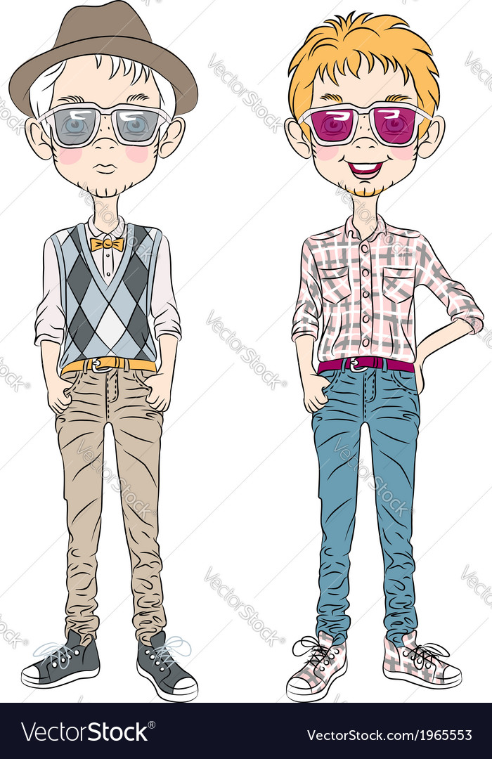 Two hipster guys in a hat glasses and bow tie vector   Price: 1 Credit (USD $1)