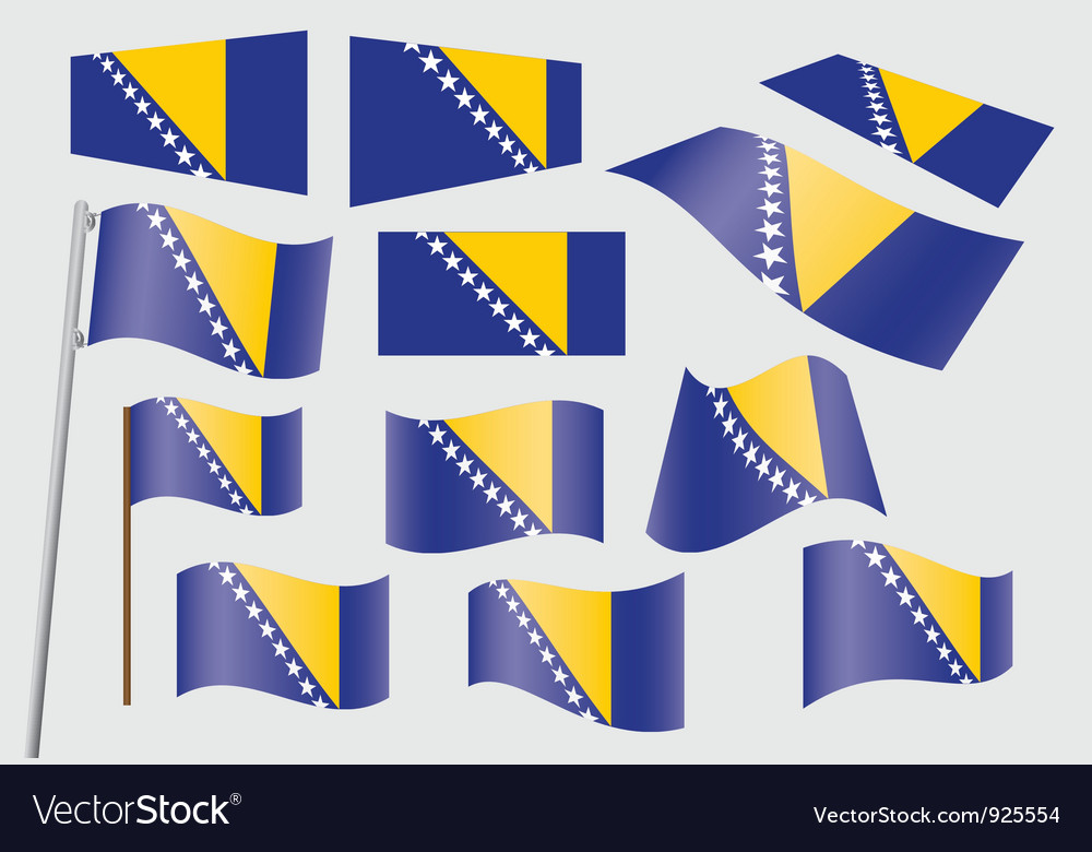 Bosnia flag2 vector | Price: 1 Credit (USD $1)