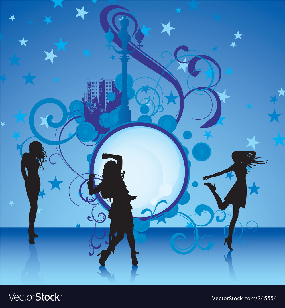 Dancing girls on blue background vector | Price: 1 Credit (USD $1)