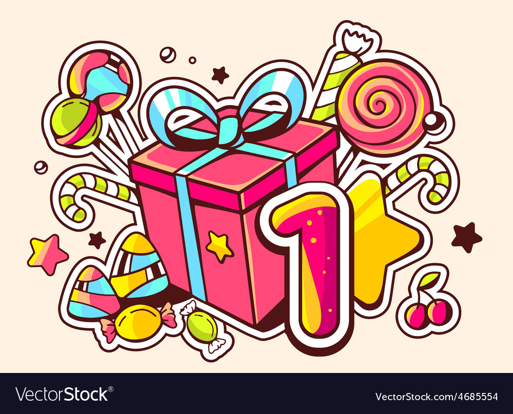 Gift box and confection with number one o vector | Price: 3 Credit (USD $3)