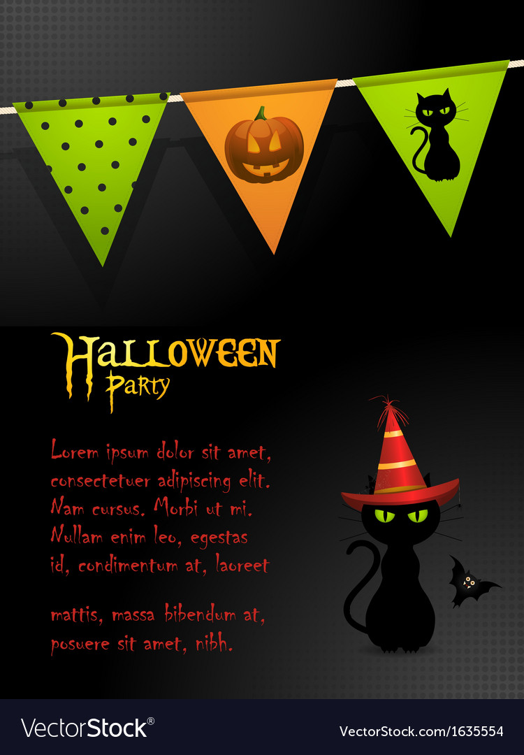 Halloween black cat party background vector | Price: 1 Credit (USD $1)