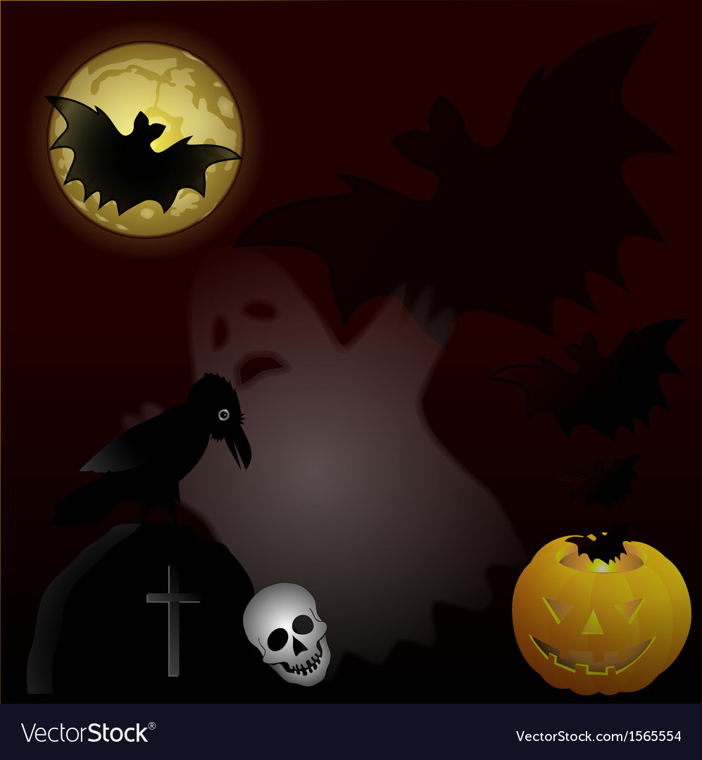 Halloween night on cemetery vector | Price: 1 Credit (USD $1)