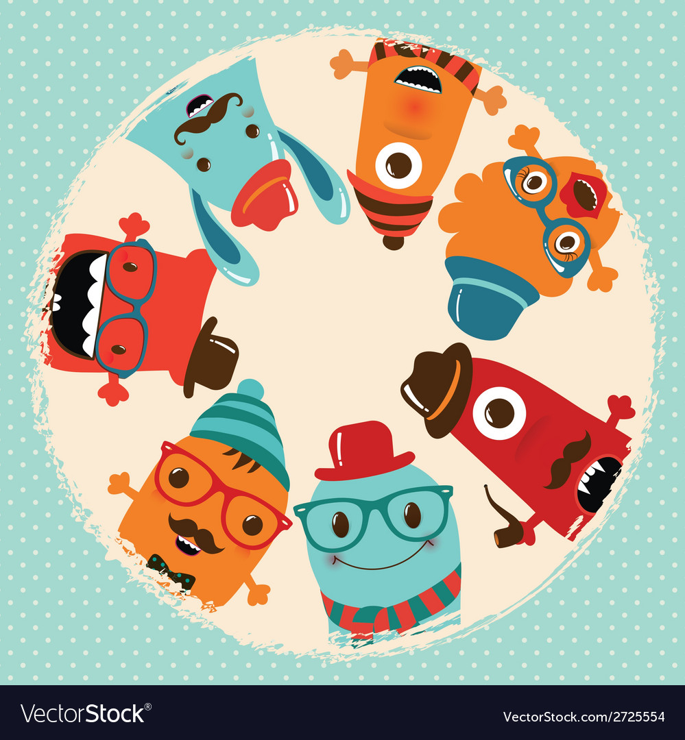 Hipster retro monsters card design vector | Price: 1 Credit (USD $1)