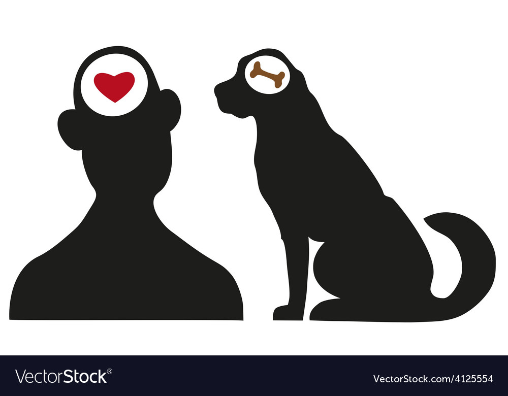 Man and dog silhouettes vector | Price: 1 Credit (USD $1)