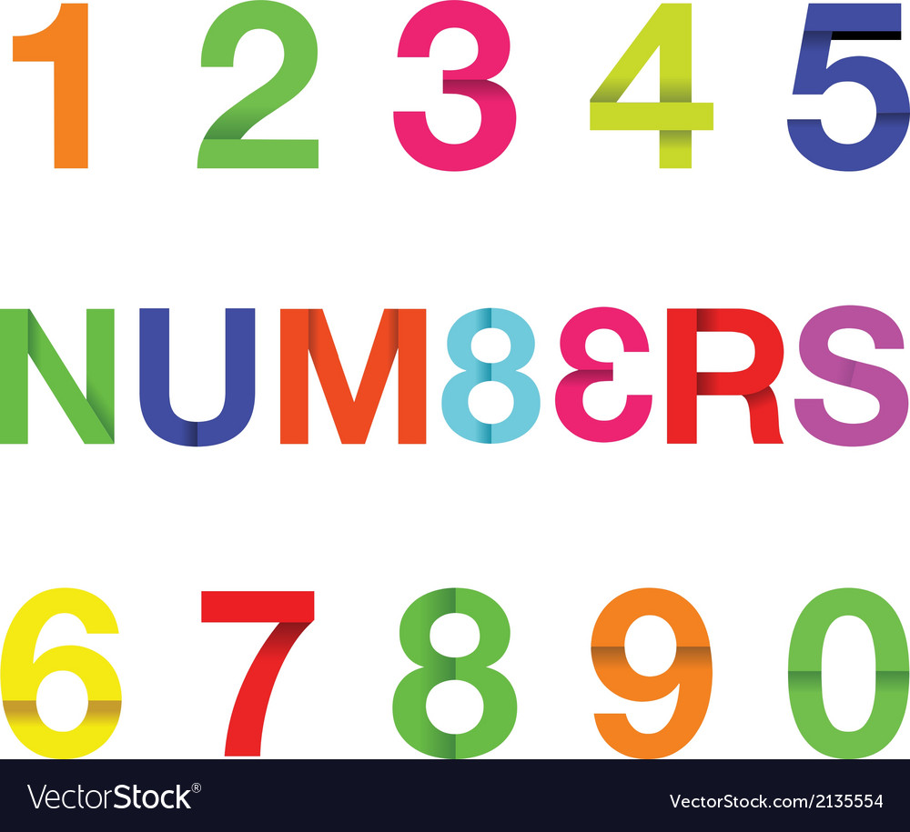Paper numbers colour vector | Price: 1 Credit (USD $1)