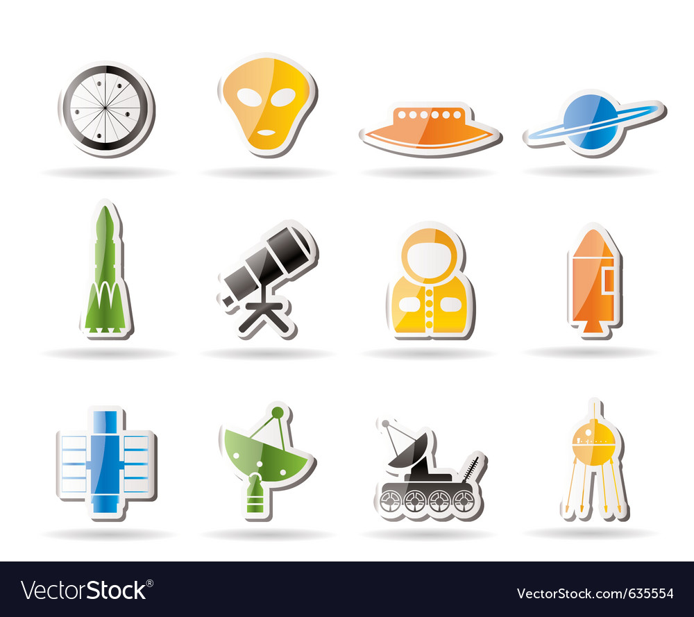 Simple astronautics and space icons vector | Price: 1 Credit (USD $1)