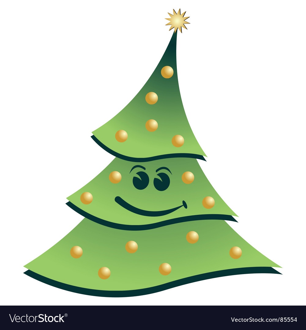Smiling christmas tree vector | Price: 1 Credit (USD $1)