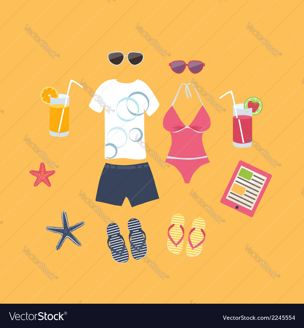 Summer vacation set of icons vector | Price: 1 Credit (USD $1)