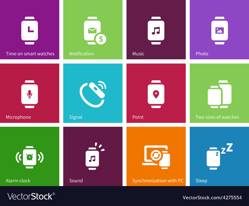 Wireless watch icons on color background vector | Price: 1 Credit (USD $1)