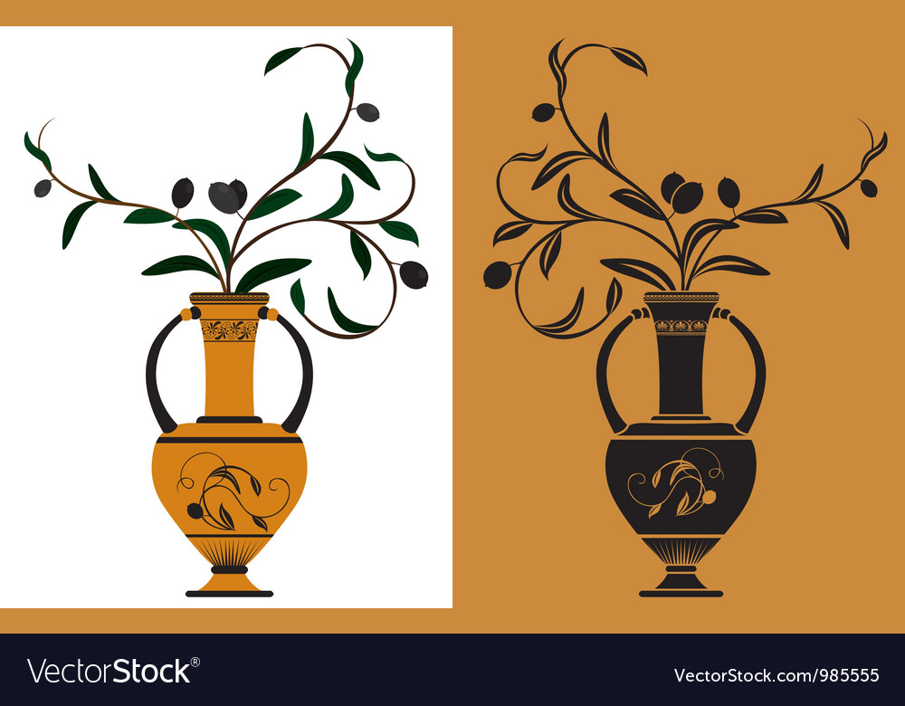 Ancient greek amphora with olive vector | Price: 1 Credit (USD $1)