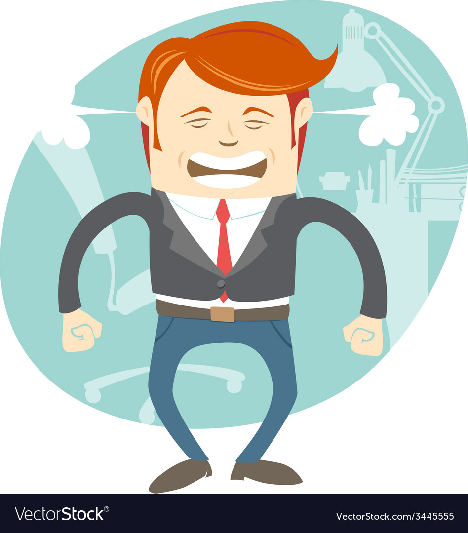 Angry office man in front of his working place vector | Price: 1 Credit (USD $1)