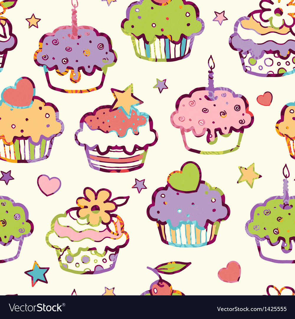Birthday muffins seamless pattern background vector | Price: 1 Credit (USD $1)