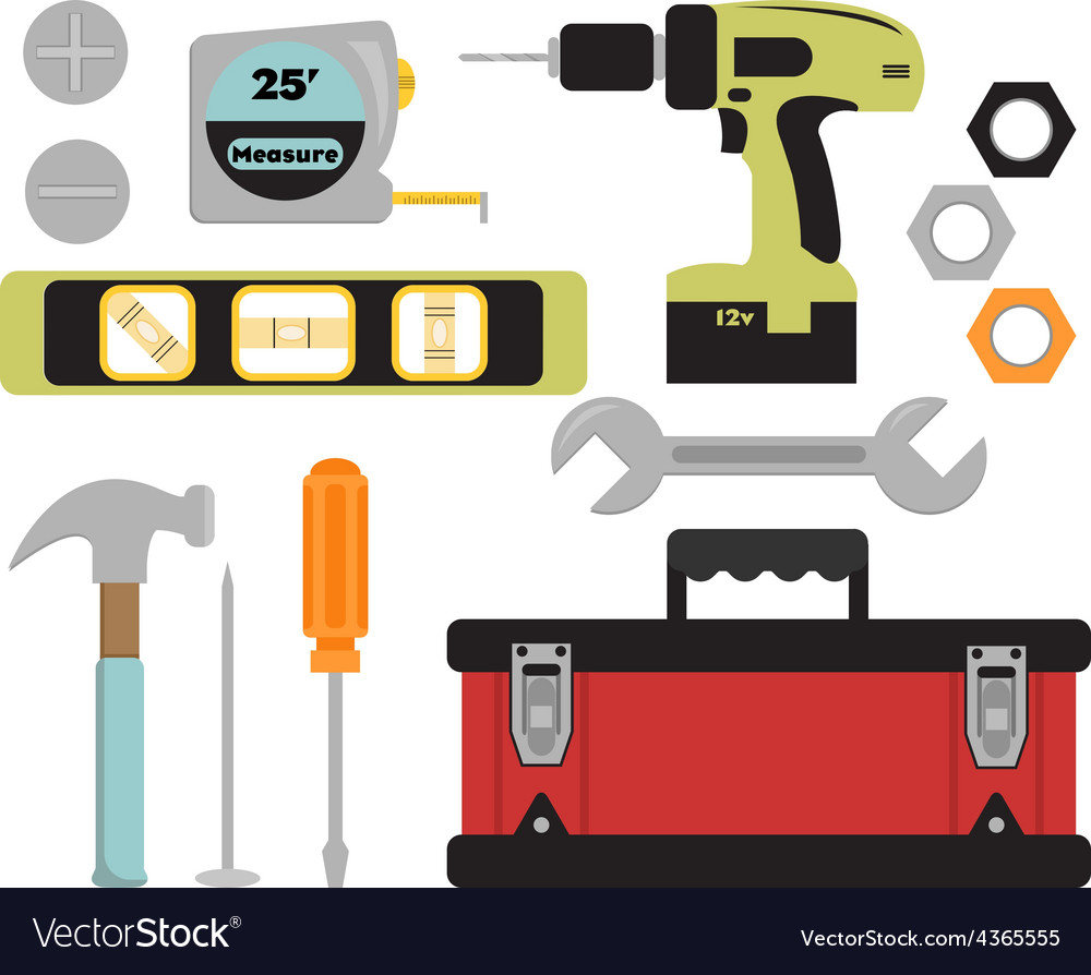 Colorful tools and toolbox set vector | Price: 1 Credit (USD $1)