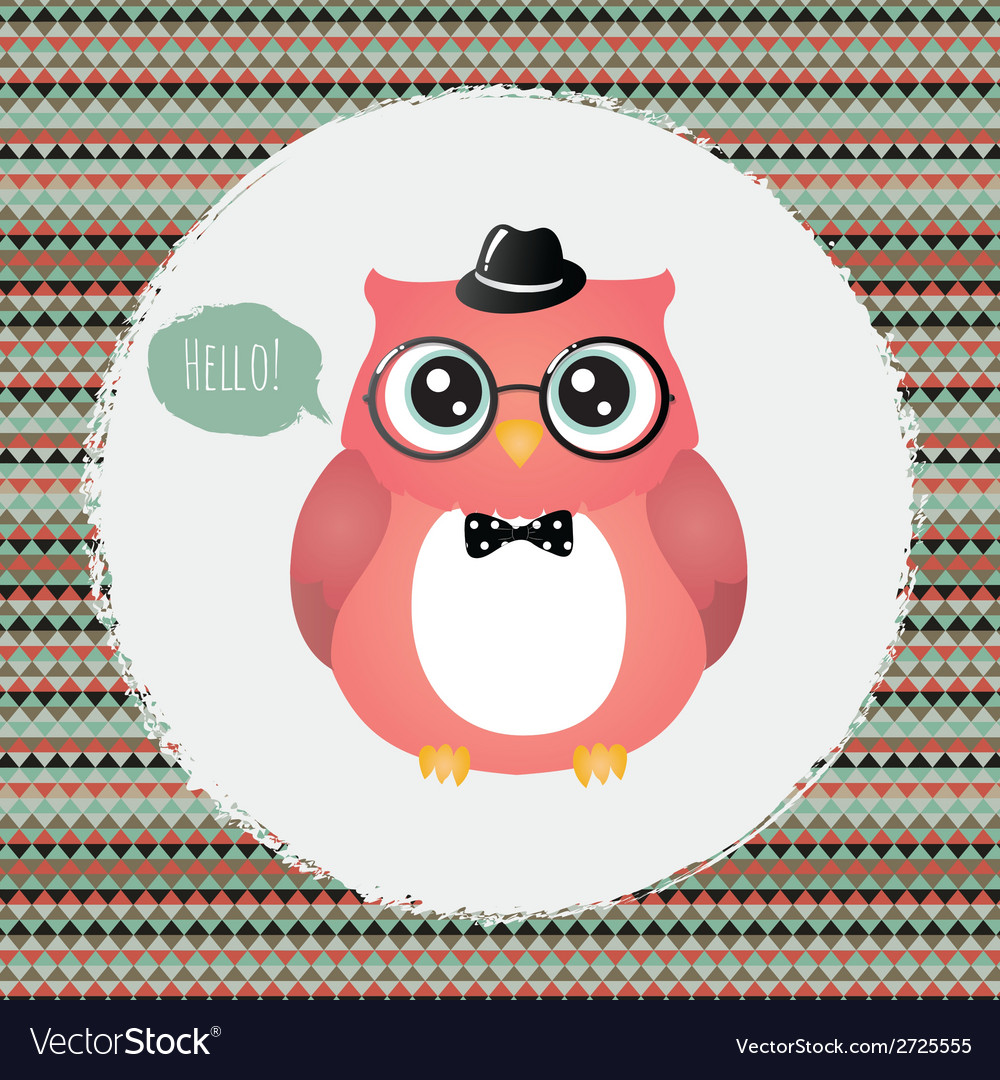 Hipster owl in textured frame design vector | Price: 1 Credit (USD $1)
