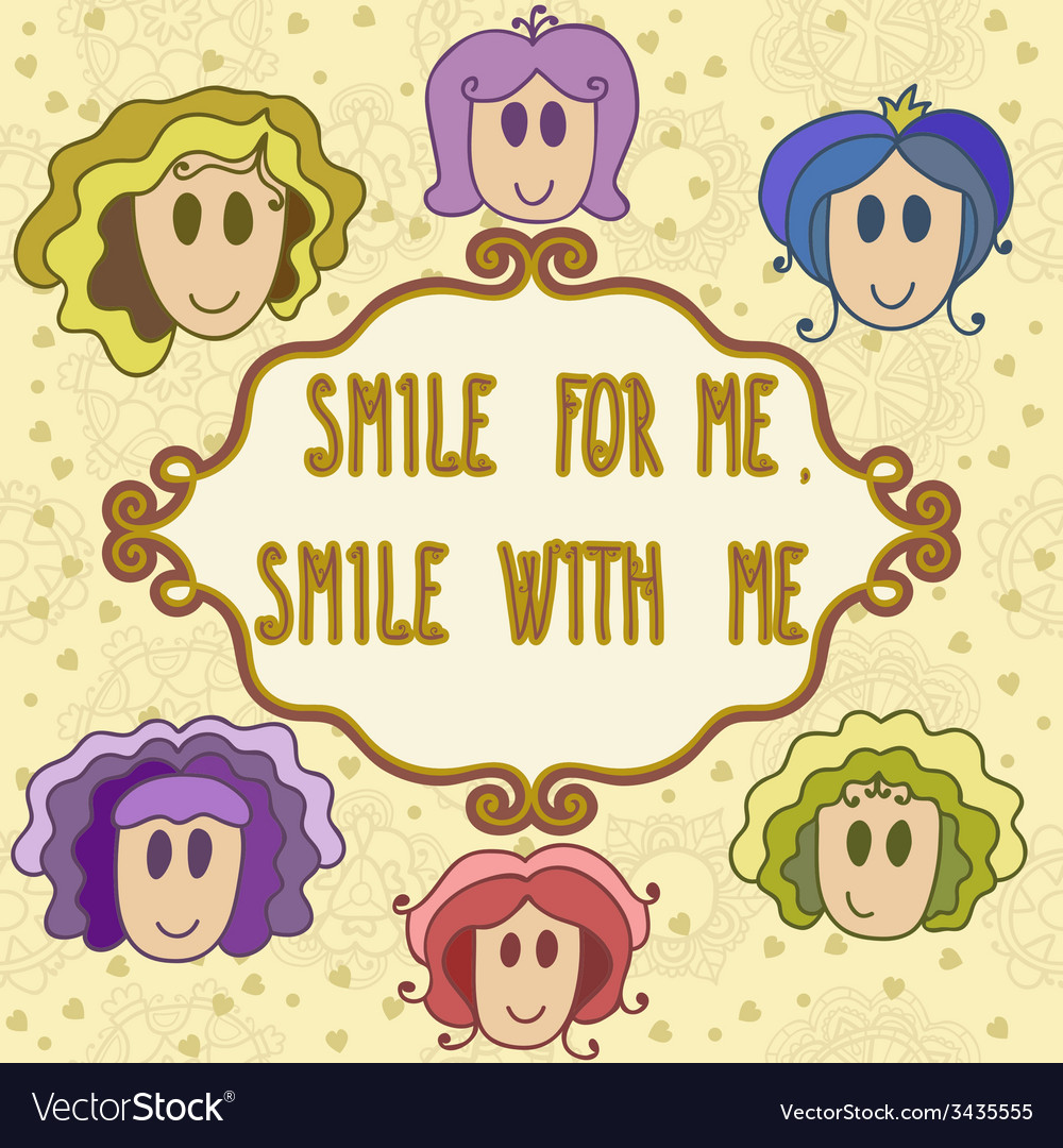 Lovely greeting card with frame smile with me vector | Price: 1 Credit (USD $1)