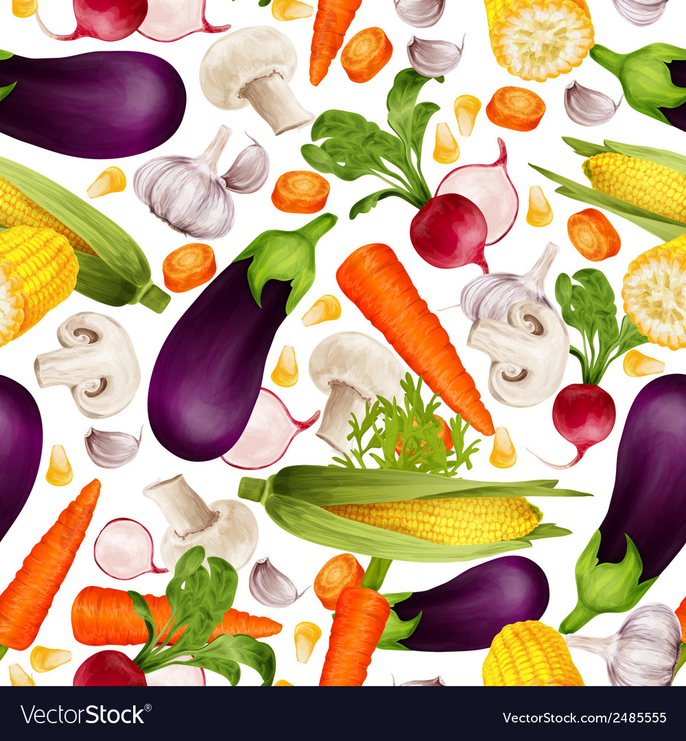 Vegetables realistic seamless pattern vector | Price: 1 Credit (USD $1)
