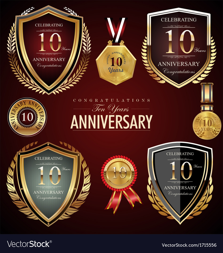 10 years anniversary labels vector | Price: 1 Credit (USD $1)
