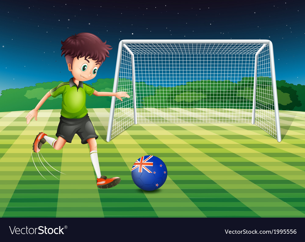 A boy kicking the ball with the flag of new vector | Price: 3 Credit (USD $3)