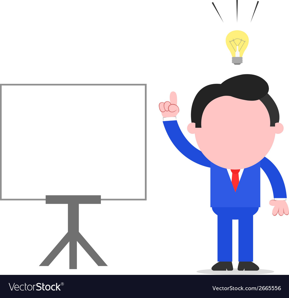 Businessman with and idea beside chart vector | Price: 1 Credit (USD $1)