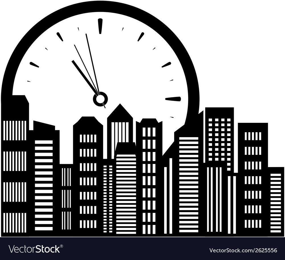 Clock and city landscape vector | Price: 1 Credit (USD $1)