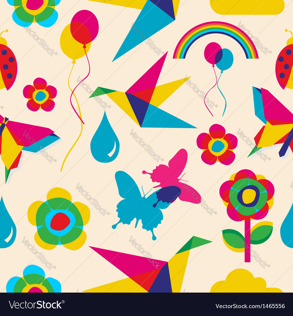 Colorful summer origami pattern vector | Price: 1 Credit (USD $1)