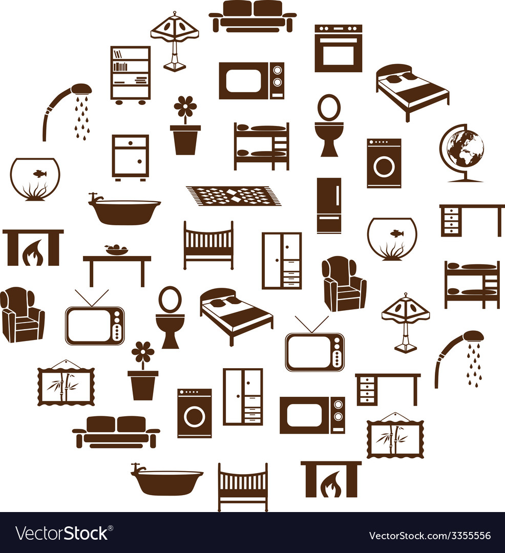 Home equipment icons in circle vector | Price: 1 Credit (USD $1)