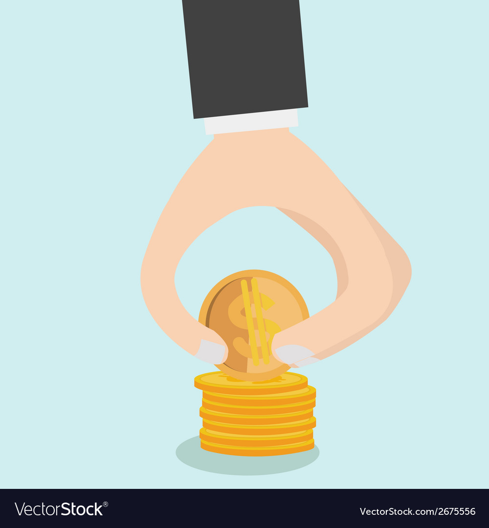 Image of hand put coins to stack of coins vector | Price: 1 Credit (USD $1)
