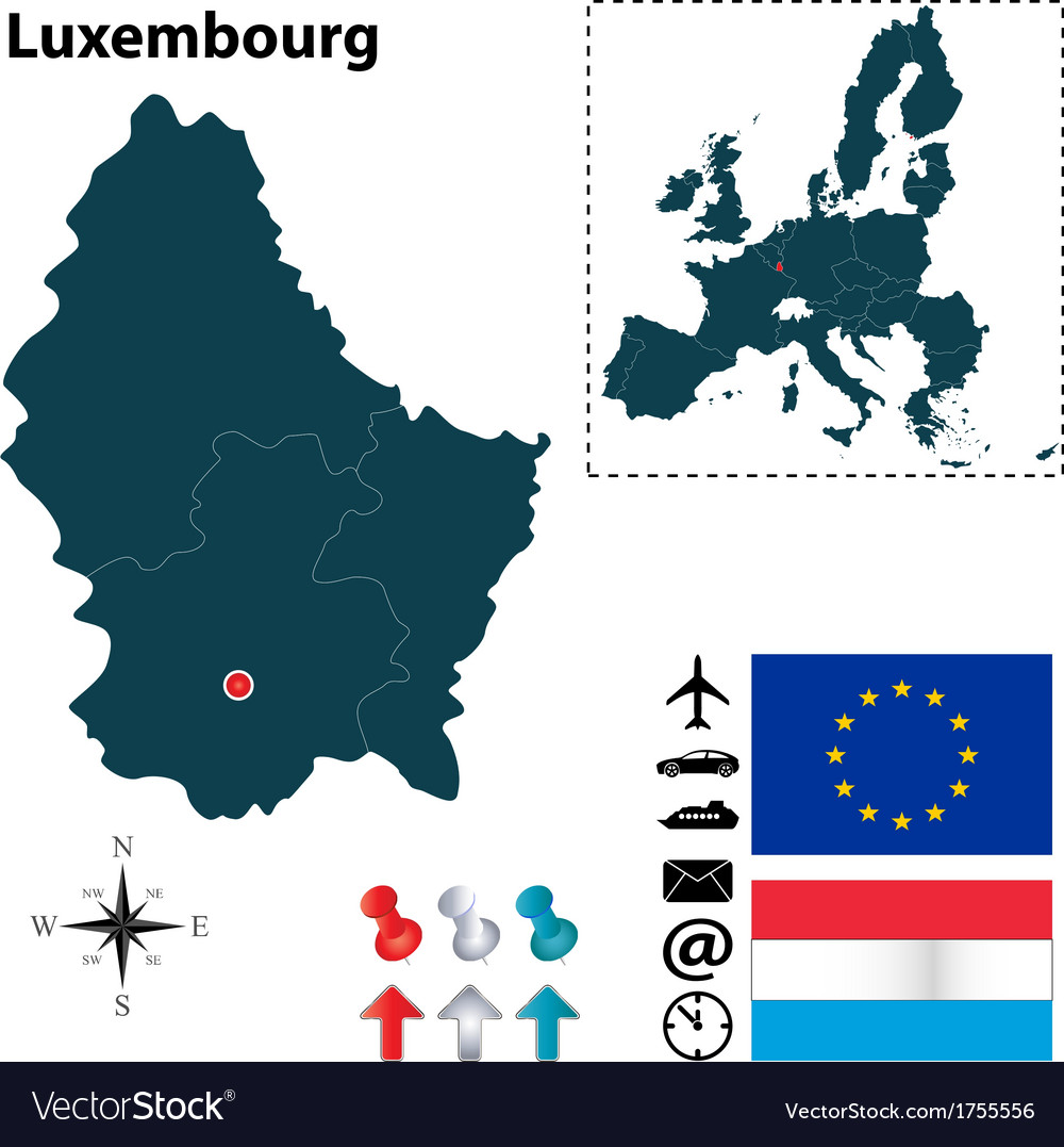 Luxembourg and european union map vector | Price: 1 Credit (USD $1)