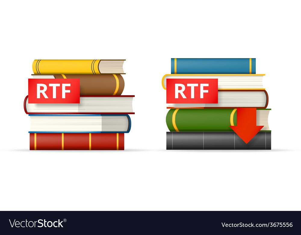 Rtf books stacks icons vector | Price: 1 Credit (USD $1)