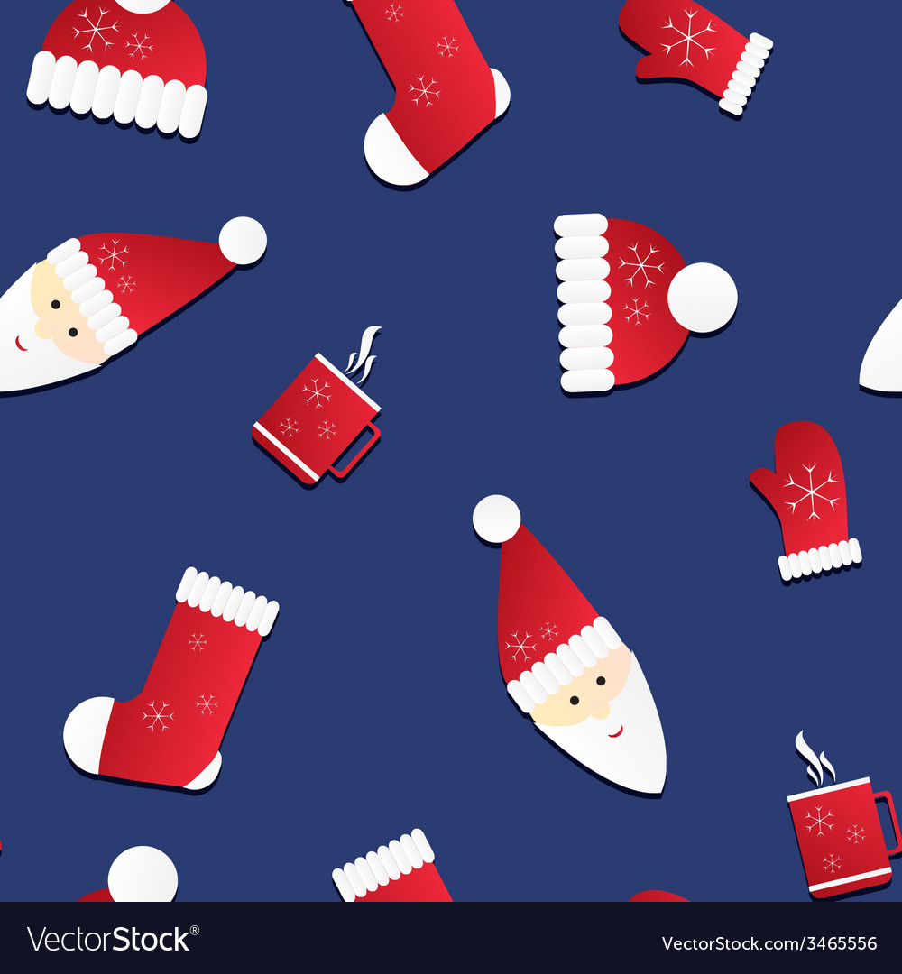 Seamless texture with santa and red caps mittens vector | Price: 1 Credit (USD $1)